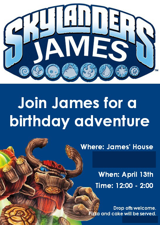Skylanders birthday party, birthday invitation, birthday party ideas