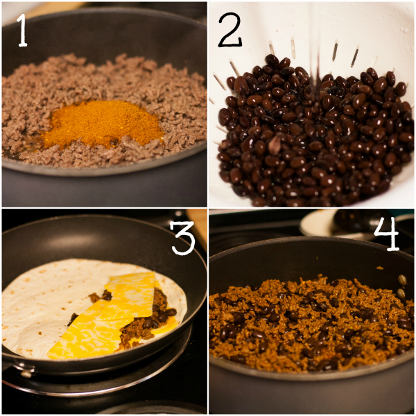 Beef and Black Bean Quesadillas, A quick and easy weeknight dinner, Recipe, Instructions