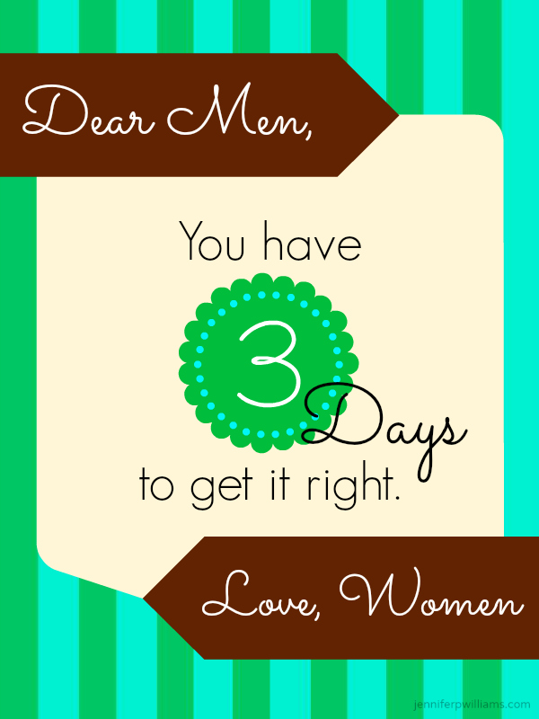 Dear Men, You Get Three Days, Understanding Women, Marriage, Being a Wife, Husbands
