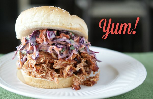Momma Can Cook - BBQ Chicken Sandwich with Red Cabbage Cilantro Slaw