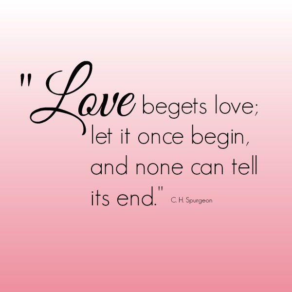 Love begets love; let it once begin, and none can tell its end.