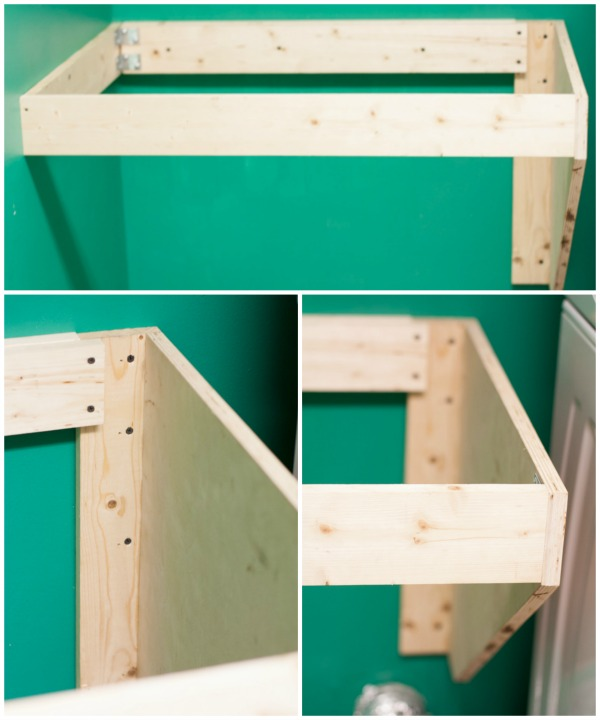 How to DIY a Hanging Counter Top - Measure and cut your braces and attach to the wall with wood screws.