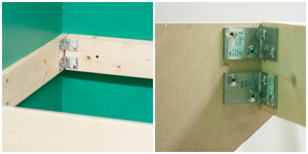 How to DIY a Hanging Counter Top - Use angle brackets to make the counter top more sturdy.
