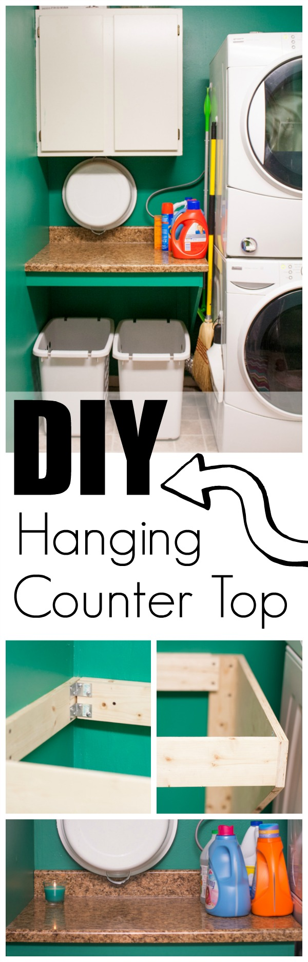 How to DIY a Hanging Counter Top to save space and making organizing easier.