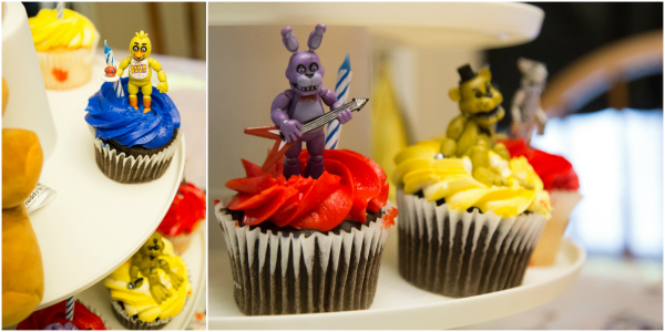 Make your own Five Night's at Freddy's Birthday Party cupcakes with store bought cupcakes and figurines from Funko.